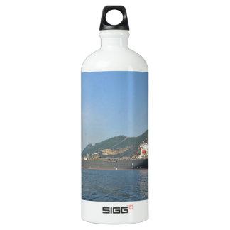 Cargo Ship Entering Gibraltar Water Bottle