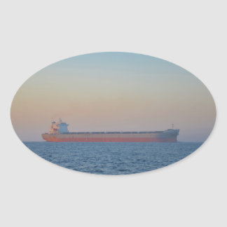 Cargo Ship In A Hazy Dusk Sticker