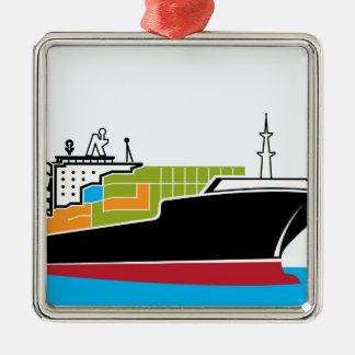 Cargo Ship Metal Ornament