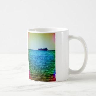 Cargo ship on the horizon coffee mug