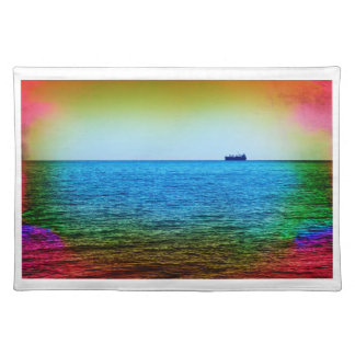 Cargo ship on the horizon place mat