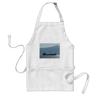 Cargo Ship Silhouetted By The Sun Adult Apron