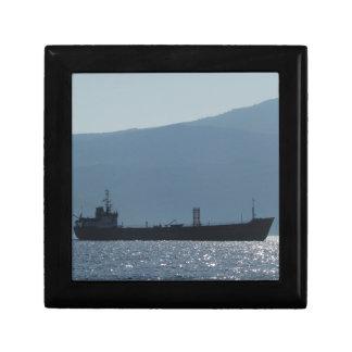 Cargo Ship Silhouetted By The Sun Keepsake Box