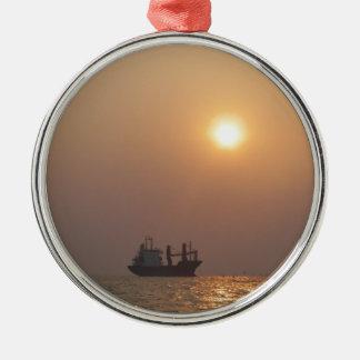 Cargo Ship Under A Hazy Sun Metal Ornament