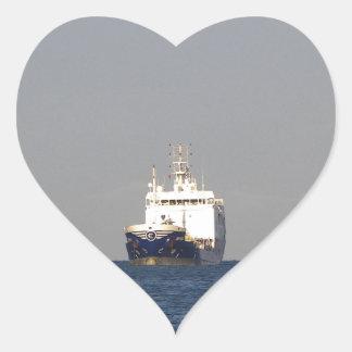 Cargo Ship Zefyros In The Distance Heart Sticker
