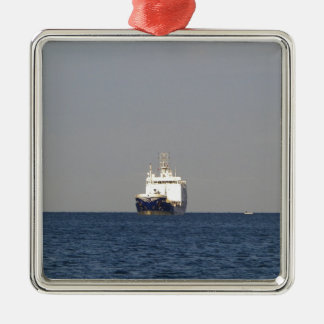 Cargo Ship Zefyros In The Distance Silver-Colored Square Decoration
