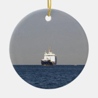 Cargo Ship Zefyros In The Distance Round Ceramic Decoration