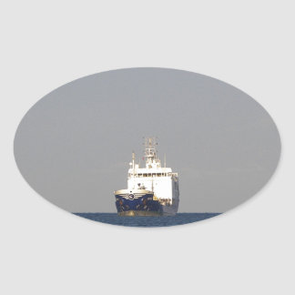 Cargo Ship Zefyros In The Distance Oval Sticker