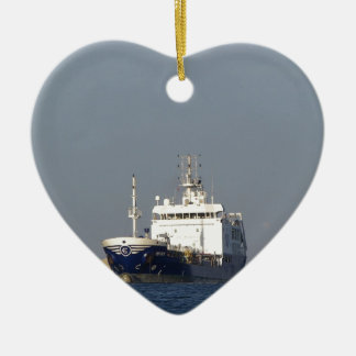 Cargo Ship Zephyros Entering Harbor Ceramic Ornament