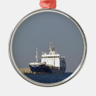 Cargo Ship Zephyros Entering Harbor Metal Ornament
