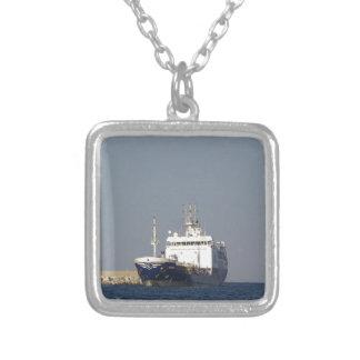 Cargo Ship Zephyros Entering Harbor Silver Plated Necklace