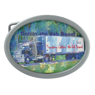 Cargo Truck Driver Tribute Transport Buckle Oval Belt Buckle