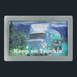 """Cargo Truck Drivers Transport Buckle Rectangular Belt Buckle<br><div class=""""desc"""">Tanker Truck for Truck lovers and Drivers, this very cool Truckers Belt Buckle design will appeal! Designed for Truckers and those who love the Big Rigs as they roll like huge Juggernauts down our nation&#39;s highways. This Art Buckle collection is sure to appeal. Change the words if you want to!...</div>"""