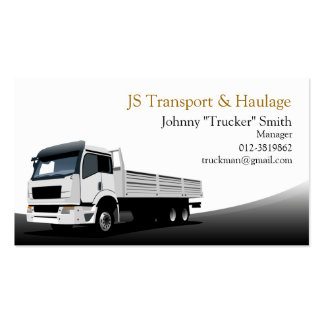 Cargo Truck Haulage Black Business Card