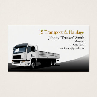 Cargo Truck Haulage Black Business Card