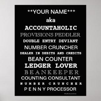 Cargos divertidos del contable de Personalisable Póster