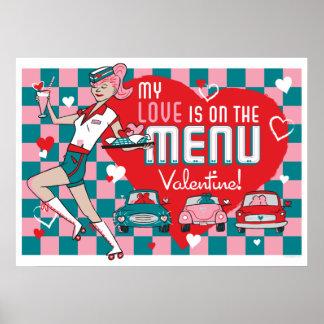 Carhop Retro Drive-In Valentine Poster (28x20)
