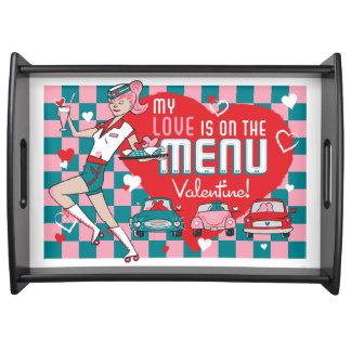 Carhop Retro Drive-In Valentine Serving Tray