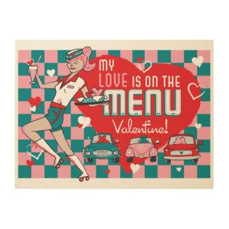 Carhop Retro Drive-In Valentine Wood Sign 24x18 Wood Print