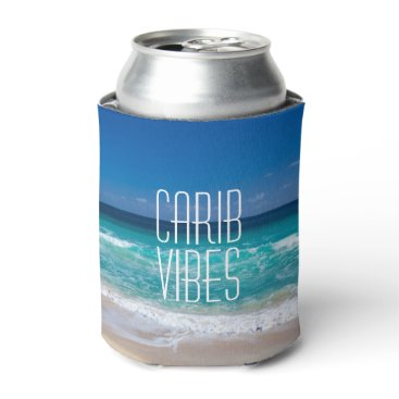 Beach Themed Carib Vibes Tropical Beach Turquoise Water Can Cooler