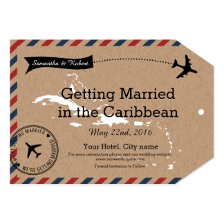Caribbean Airmail Kraft Luggage Tag Save The Dates 5x7 Paper Invitation Card
