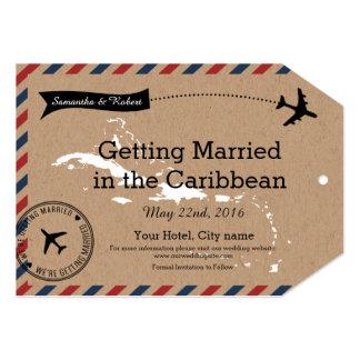 Caribbean Airmail Kraft Luggage Tag Save The Dates Card