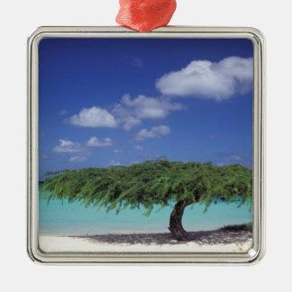 Caribbean, Aruba. Eagle Beach Square Metal Christmas Ornament