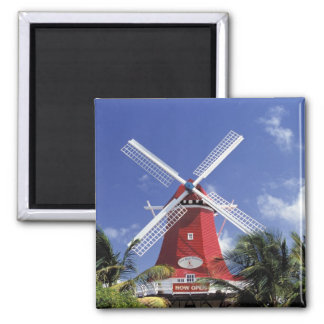 Caribbean, Aruba. Old Mill, converted into 'Mill 2 Inch Square Magnet