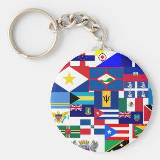 caribbean basic round button keychain
