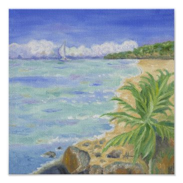 Beach Themed Caribbean Beach art print