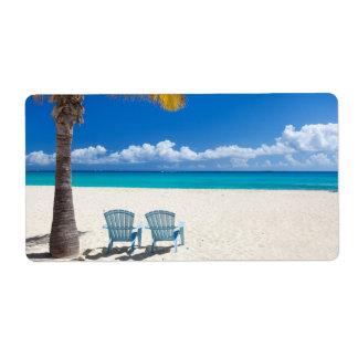 Caribbean beach shipping label