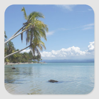 caribbean beach square sticker