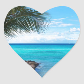 Caribbean Beach Heart Sticker