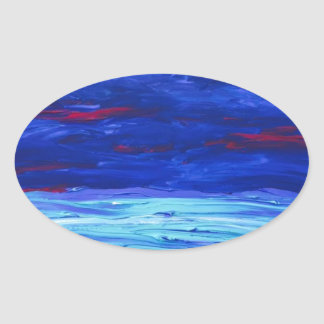 Caribbean Blue- Abstract Acrylic Painting Oval Sticker