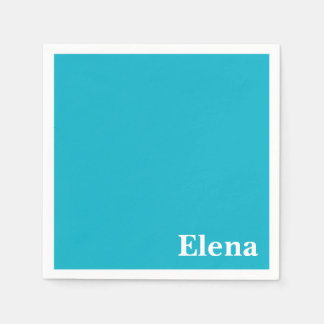 Caribbean Blue Customizable Paper Napkin