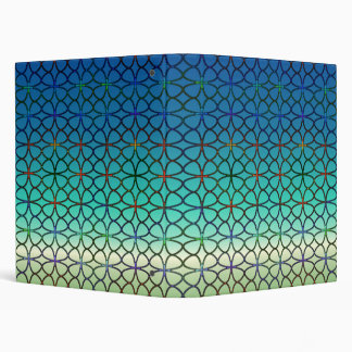 Caribbean Blue/Green Four Leaf Clover Geometric Binder