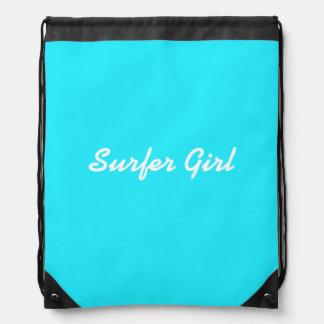 Caribbean Blue Surfer Girl Drawstring Backpack