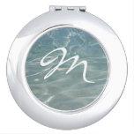 Caribbean Blue Water Custom Monogram Mirror For Makeup