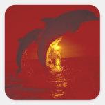 Caribbean, Bottlenose dolphins Tursiops 9 Square Sticker