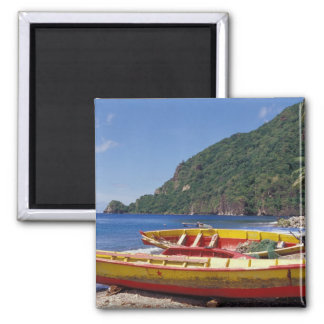 Caribbean, BWI, St. Lucia, Sailboats, Soufriere. 2 Inch Square Magnet