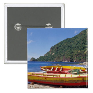 Caribbean, BWI, St. Lucia, Sailboats, Soufriere. 2 Inch Square Button