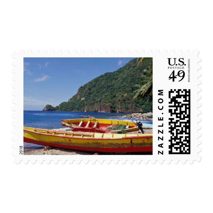 Caribbean, BWI, St. Lucia, Sailboats, Soufriere. Postage