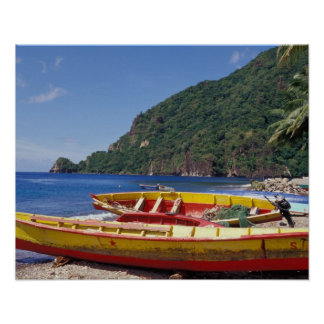 Caribbean, BWI, St. Lucia, Sailboats, Soufriere. Poster
