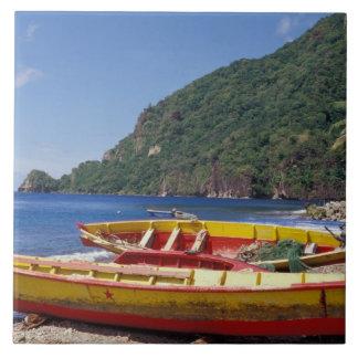 Caribbean, BWI, St. Lucia, Sailboats, Soufriere. Tile