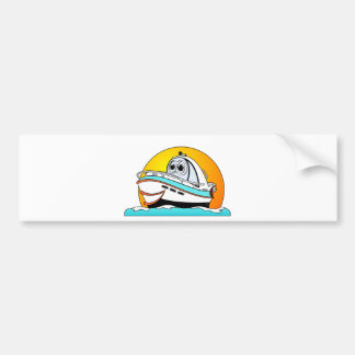 Caribbean Cartoon Motor Boat Bumper Sticker