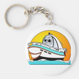 Caribbean Cartoon Motor Boat Keychain