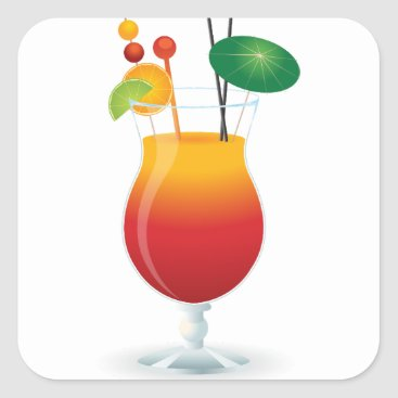 Beach Themed Caribbean Cocktail Square Sticker