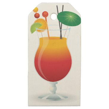 Beach Themed Caribbean Cocktail Wooden Gift Tags