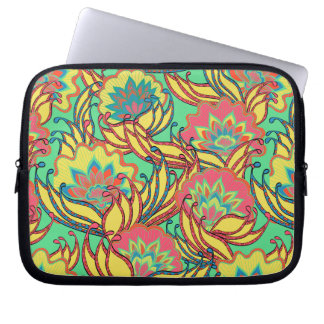 Caribbean Colors Boho Floral Pattern Computer Sleeve