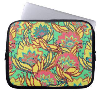 Caribbean Colors Boho Floral Pattern Computer Sleeve